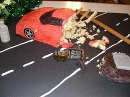 Red Ferrari Cake Red Ferrari Crash   