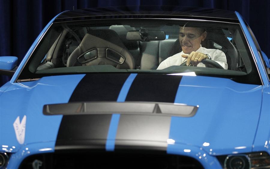 Barack Obama Blue Mustang